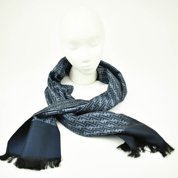 74e369e642 Fendi Navy Blue Ff Logo Silk Long Foulard Scarf